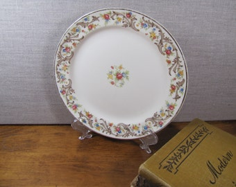 Taylor Smith Taylor - Dessert Plate - Pink, Blue and Yellow Flowers - Brown Scrolls - Gold Accent