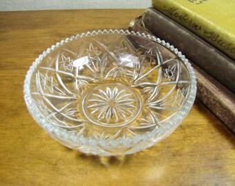Small Pressed Glass Bowl - Star Pattern