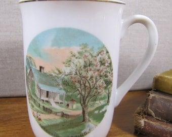 Vintage Coffee Mug - Currier and Ives - Spring