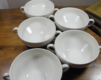 White Porcelain Double Handle Soup Cups - Set of Five (5) - Made in England