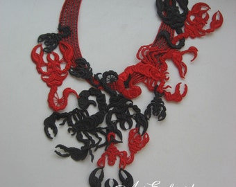Scorpion rew and Black 3D Free standing lace Necklace, Gift For Her