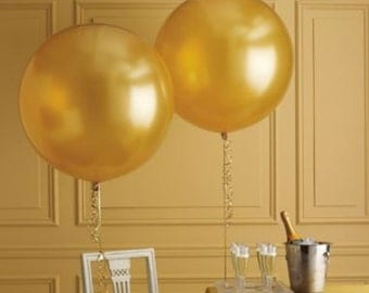 "36"" Extra Large Giant Round Gold/Silver/Black/Clear/Pink/Coral/Mint Balloons // Wedding and Birthday Decor"