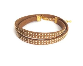 Leather studded bracelet - Stackable bracelets, Mix and Match Bracelets