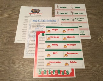 Christmas Printable Games Bundle -Lot of 5 - Family Feud, Pictionary, Hedbanz -Who Am I?, Scattergories, Scavenger Hunt - Family Friendly