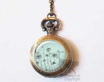 Vintage Dandelion Pocket Watch Necklace, Flower, Floral, Dandelion, Spring, Vintage Gold or Silver Pocket Watch