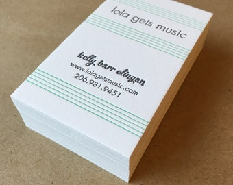 Two color, one-sided, custom letterpress printed business cards