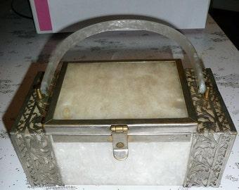 Vintage White Tyrolene (unlabelled) BOX PURSE