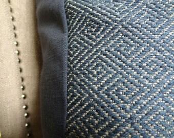 Blue Throw Pillow Cover - Batik Blue Geometric Pillow -  Drenched Blue Textured Pillow - Geometric Blue Pillow - Greek Key Pillow - 11387