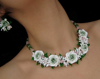 Floral statement necklace white roses flowers of polymer clay bridal jewelry set Bridesmaid Jewelry Gift Engagement light green roses pink