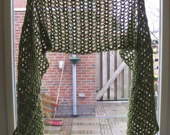 crochet wrap stole shawl olive green