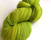 """Hand Dyed """"Cocktail"""" Chartreuse Olive Bright Green Yarn Cormo Wool 4 Ply Fingering Weight  100g"""