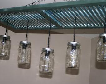 Vintage Shutter Chandelier with Five Mason Jars, Farm House Style