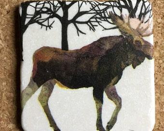 Moose Coasters ~ Set of 4 Stone Coasters ~ Winter Coasters ~ Winter Solstice
