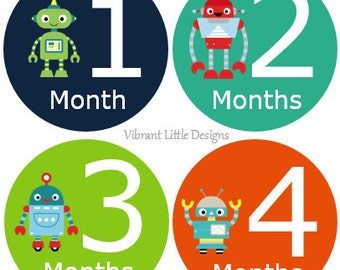 Robot Monthly Baby Stickers Boy, Milestone Stickers, Month Stickers, Baby Month Stickers, Baby Stickers #43