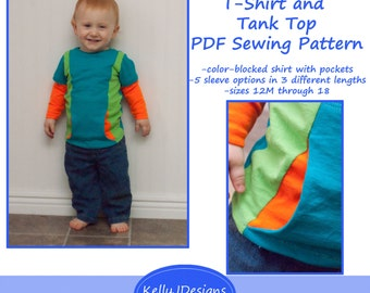 Go! T-Shirt and Tank Top Pattern children's color-blocked shirt sewing pattern