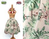 SAMPLE SALE! Lola Skirt in a Hawaiian Tiki Floral Print - Beige - Size Medium