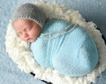 Powder Blue Newborn Stretch Wrap , Newborn Stretch Knit wrap, Newborn Photography Prop, Newborn Wrap
