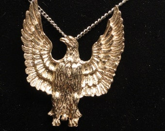 Silver Eagle on 18 inch Chain Necklace Cast Eagle