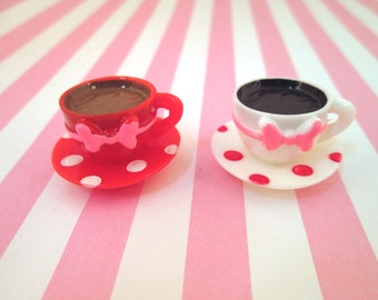 teacup and saucer cabochons, cute mad hatter, alice and wonderland cabs, #274, #278