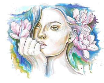 Original watercolor painting, girl and magnolias.