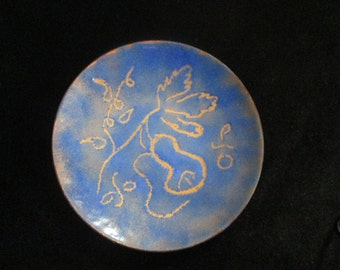 Vintage Enameled 4 1/4 Inch Plate Dish Blues Golds Abstract Art