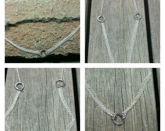 Hammered Triple Ring /Triple Sterling Silver Chain Necklace
