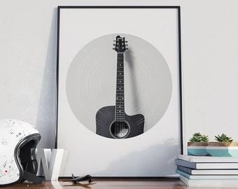 Guitar Print, Guitar Art Print, Guitar Poster, Music Photo, Classical Guitar Poster, Minimal Prints, Musician Wall Art - CP050