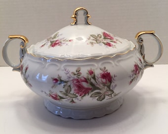 Vintage Norleans China Japan Covered Bowl~Old Roses~ Covered Vegetable Bowl
