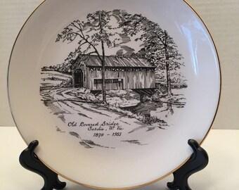 Vintage Decorative Collectible Plate ~ Old Covered Bridge Sardis W. VA 1879- 1955~ A H Ceramics