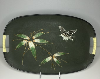 vintage green lacquerware tray Made in Japan