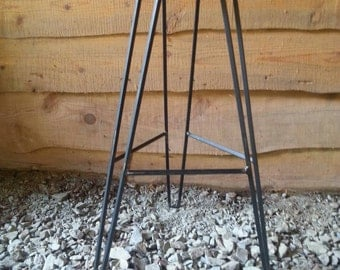 Raw Steel Hairpin Square Bar Stool Base - FREE SHIPPING - DIY - Custom Heights Available