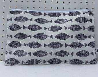 Grey fish Fabric Purse, Make-up bag, zipper pouch,phone pouch, cosmetic purse,cosmetic bag, pencil case.