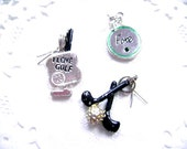 Golf Charm Collection Antique Silver Tone -Three Charms-FREE SHIPPING