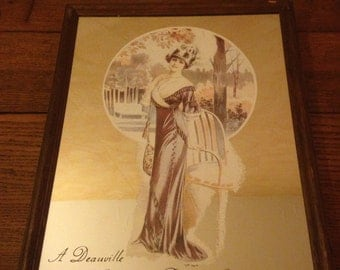 Rare old drawing woman Deauville Vintage decorative mirror!