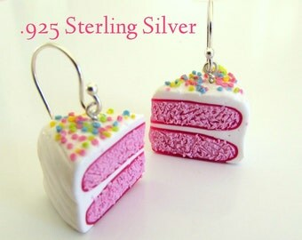 Raspberry White Chocolate Cake Earrings with Sterling Silver