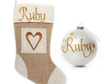 Personalised Burlap Heart Stocking and Bauble Pack