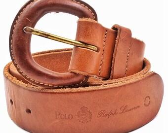 Polo Ralph Lauren leather belt, caramel brown leather belt, saddle leather belt, 26 inch belt, vegetable leather belt buckle, small belt