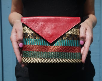 Red leather and embroidered silk evening bag