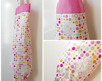 carrier bag storage. colourful grocery bag holder, plastic storage, carrier dispenser. home, pink storage