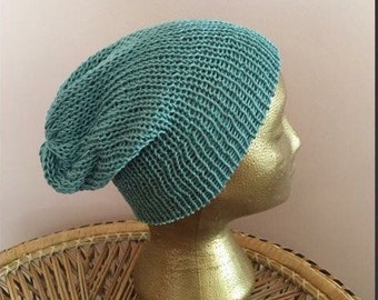 Green cotton beanie, green slouchy hat
