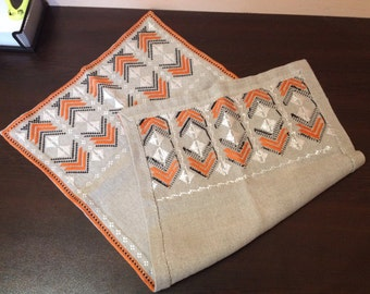 Vintage Bulgarian Home Decor linen Hand Embroidered Table Cover for connoisseur, Silk thread, Gift idea