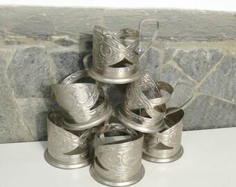 Set of six metal (podstakan) tea cup-holders USSR - Russia, Tableware