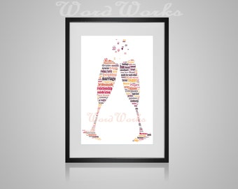 Personalised Wedding Champagne Flute Word Art Gift **Buy 3 prints get ...