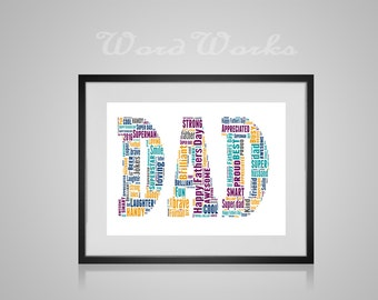 """Personalised Fathers Day """"dad"""" Word Art  **Buy 3 prints get the 4th FREE**  Use coupon code """" MYFREEONE """""""