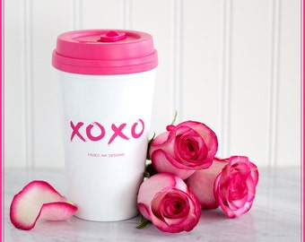 Glam Valentine Gifts, Bridesmaid Gifts, Pink xoxo Travel Coffee Mug, Xoxo print, Unique gifts for her, 16 oz coffee tumbler, Travel mug,