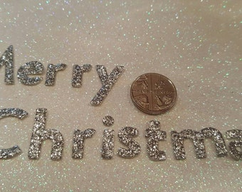 Silver Glitter Fabric - Die Cut -  'Merry Christmas'  2cm Tall