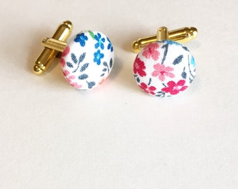 Floral Cufflinks; Fabric Cufflinks; Groomsmen Cufflinks; Custom Cufflinks; Flower Cufflinks; Unique Cufflinks