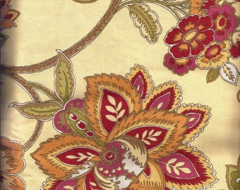 Yellow Red Tan Gold Floral Curtain Valances