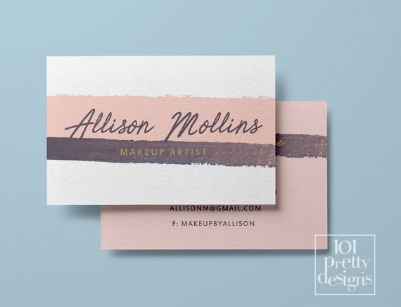 watercolor business card stripes pink printable business card
