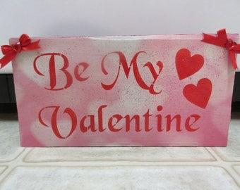 Valentine Decor-Valentine Decorations-Be My Valentine Wood Block